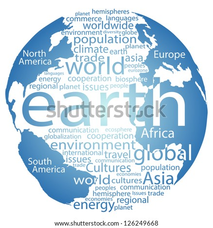 Earth globe and whole world word cloud tags - stock photo