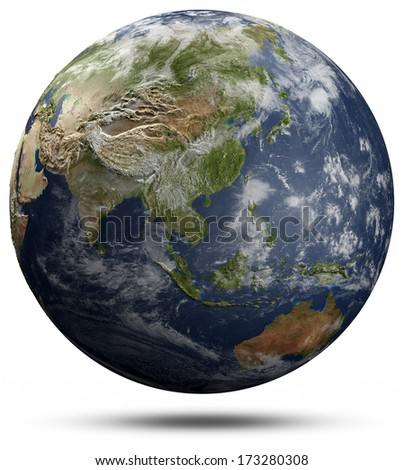 Earth globe - Asia and Oceania. Elements of this image furnished by NASA - stock photo