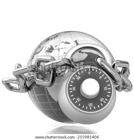 Earth globe close in chain and padlock on a white background - stock photo