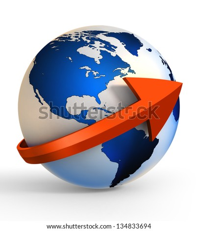 earth globe communication with arrow sign. clipping path included