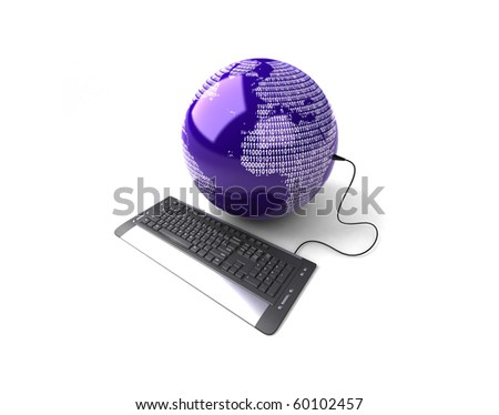 Earth Globe connected with computer keyboard. - stock photo