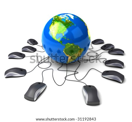 Earth Globe connected with computer mouses.