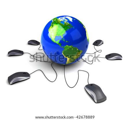 Earth Globe connected with computer ?mouses?. - stock photo