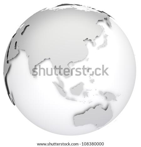 Earth globe 3d model. Side of Asia, Australia and Indonesia. - stock photo
