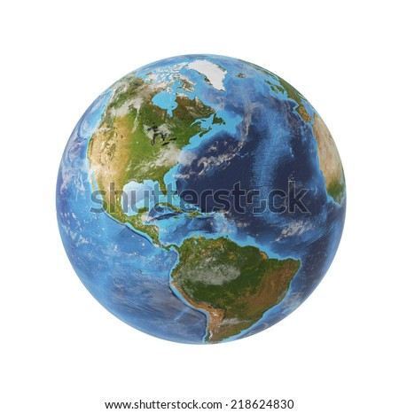 Earth globe, 3D rendering. Americas North and south view. Isolated on white background. Elements of this image furnished by NASA