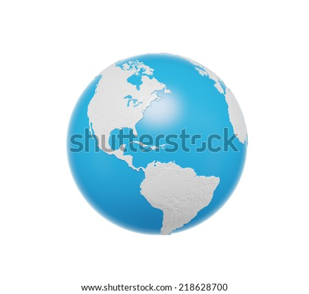 Earth globe, 3D rendering. Americas North and south view. Isolated on white background. Elements of this image furnished by NASA - stock photo