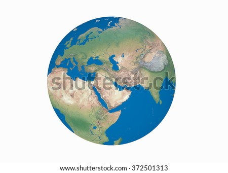 Earth globe elements furnished by NASA, isolated, white background