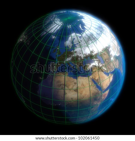 Earth Globe Europe-  Latitude and Longitude. 3d Render using NASA texture maps.
