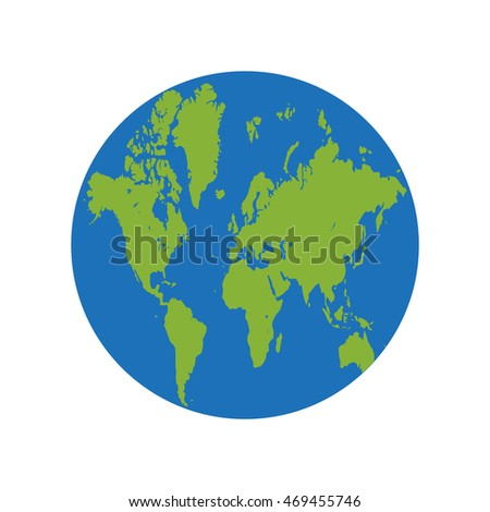 earth globe icon green map of world in circle on white background