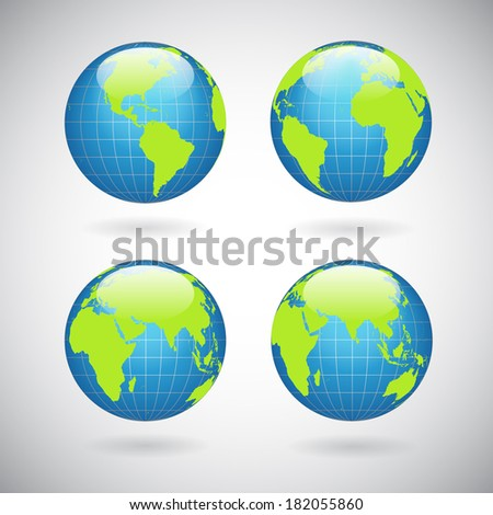 Earth globe icons set with world map continents and oceans isolated  illustration - stock photo