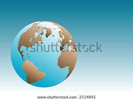 Earth Globe Illustration with blue gradient background.