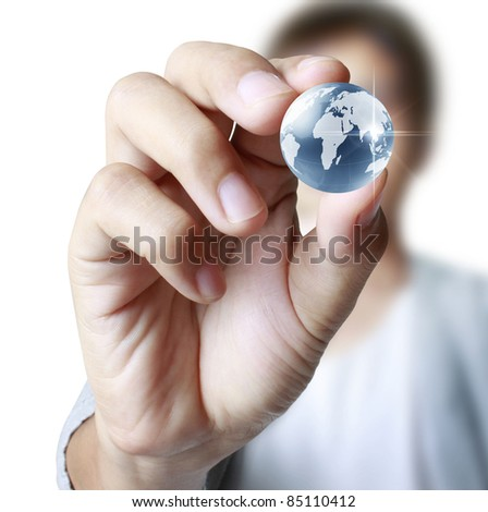 earth globe in his hands