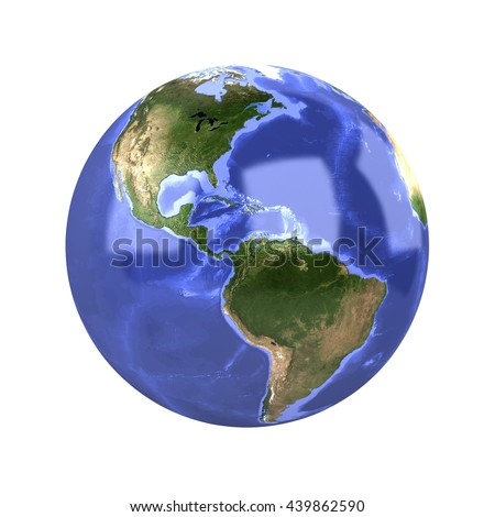 Earth Globe Isolated 3D Rendering