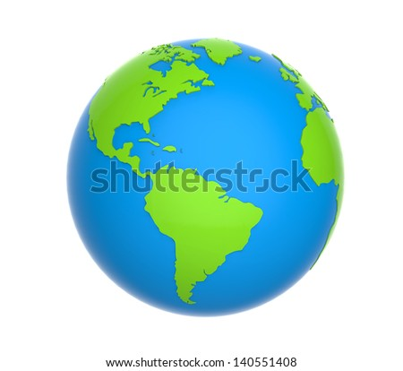 Earth Globe isolated on white background - stock photo