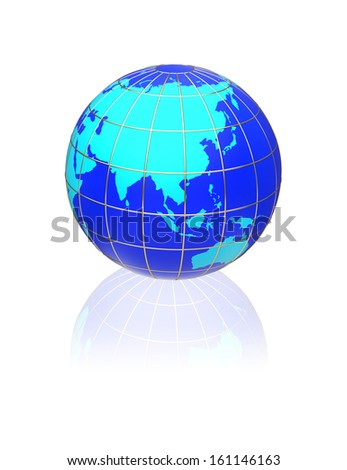 Earth globe map on a white background. Side of Asia, Australia and Indonesia.