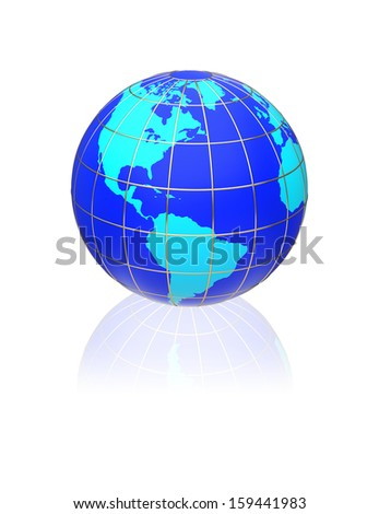 Earth globe map on a white background. Side of the North and South America