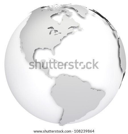 Earth globe map. Side of the North and South America. 3d image - stock photo