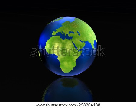 Earth globe on the black reflective background.
