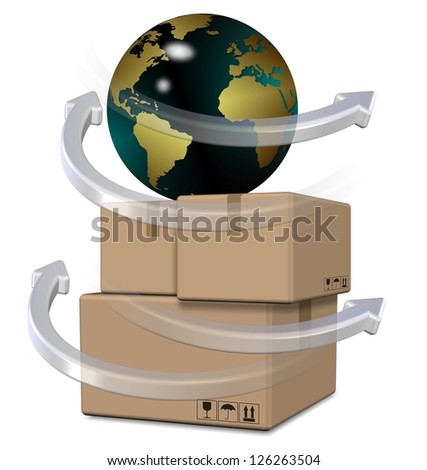 Earth globe on top of brown cardboard boxes / Global distribution - stock photo