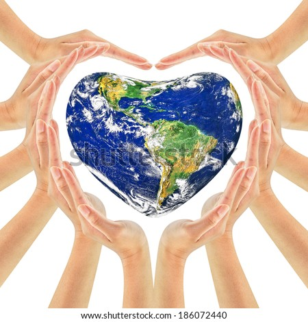 Earth globe on woman hands making heart shape isolated on white background . Unity, world peace, Earth care concept. Elements of this image furnished by NASA - stock photo