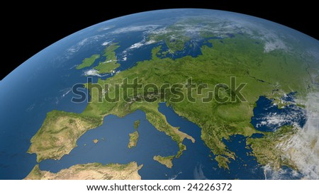 earth globe / satellite view to europe and parts of russia (detailed 3d rendering with relief mountains, clouds and sea floor structure derived from public domain nasa imagery) - stock photo