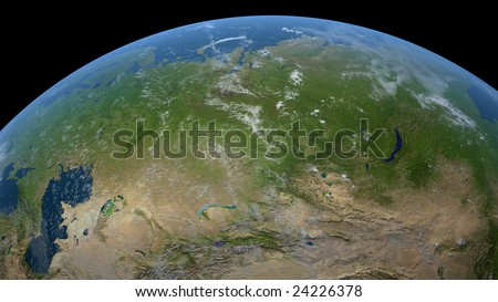 earth globe / satellite view to russia, the central asian countries, parts of mongolia and china (detailed 3d rendering with relief mountains, clouds and sea floor structure)