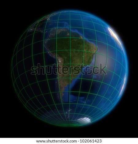 Earth Globe South America-  Latitude and Longitude. 3d Render using NASA texture maps.