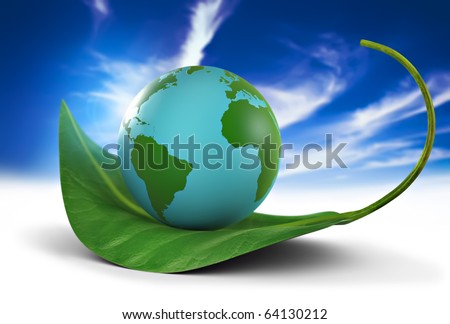 Earth globe standing on a green leaf, nature preservation concept