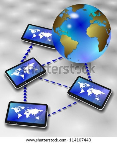 Earth globe surrounded by computer tablets forming a network / Global information network - stock photo