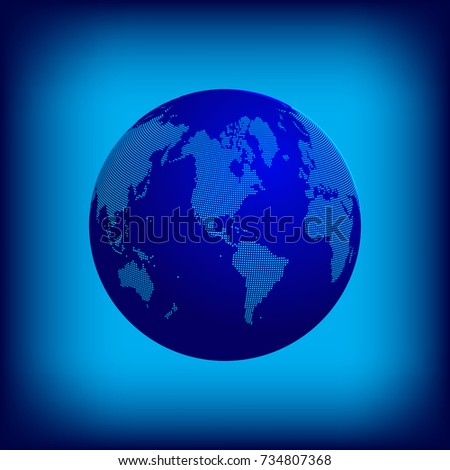 Earth globe with dotted continents on blue space background. Raster copy.