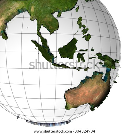 earth globe with embossed continents - stock photo