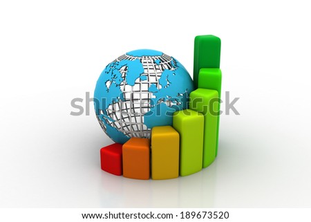 earth globe with grow bar chart - stock photo