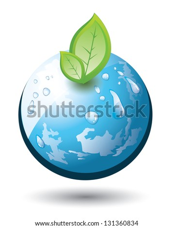Earth globe with growing plant, abstract - stock photo
