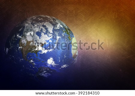Earth globe with light