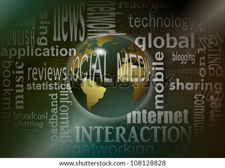 Earth globe with social media words around it and words that define it in the background / social media terms - stock photo