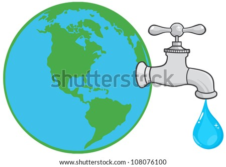 Earth Globe With Water Faucet And Drop. Raster Illustration.Vector version also available in portfolio. - stock photo
