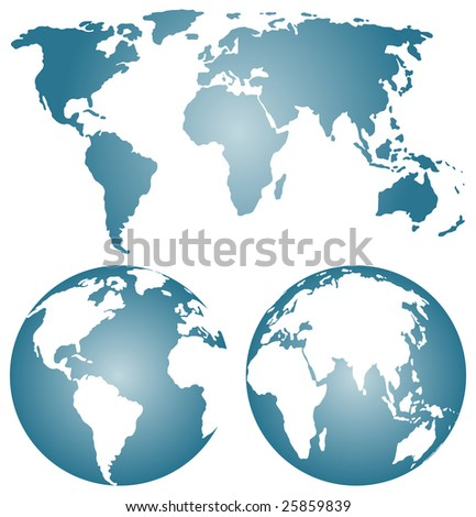 Earth globes over continents - rastered image. Vector format in EPS is also available in my gallery.