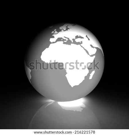 Earth glow on a white background