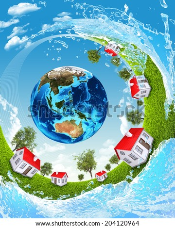 Earth, green grass, houses and water. Elements of this image are furnished by NASA - stock photo