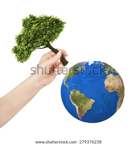 earth, hand planting a tree on the planet. Isolate on white background