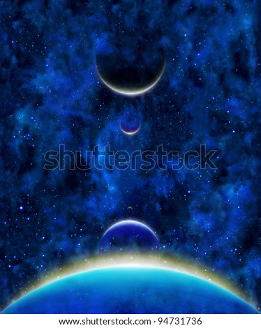 earth heavenly bodies celestial bodies with color lines above in blue stars space background - stock photo