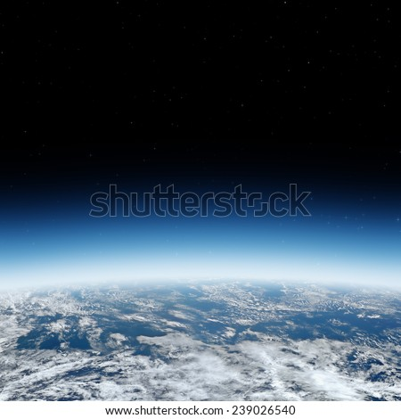 Earth horizon with starry background. Elements of this image furnished by NASA. - stock photo