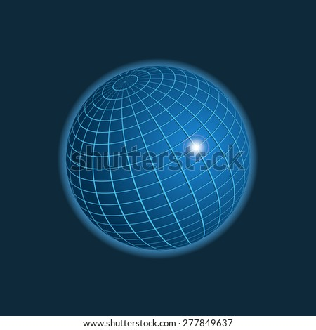 Earth icon on dark background, 3d illustration, raster