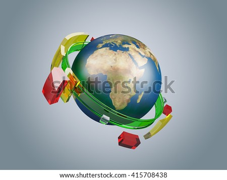 Earth illustration with abstract global telecommunications network glass circles, 3D illustration - stock photo