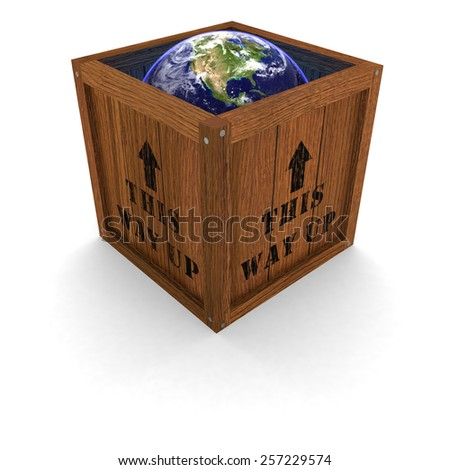 Earth in a Box - This Way Up - stock photo