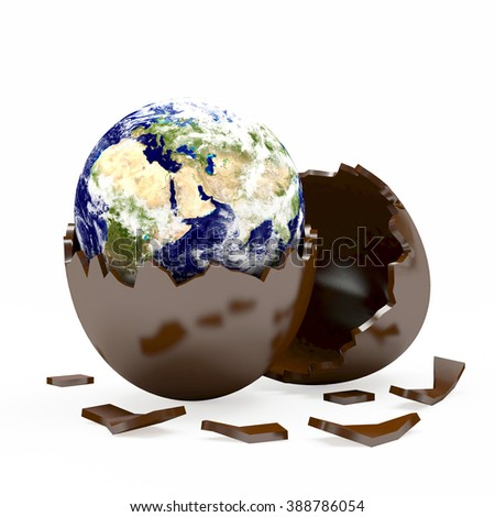 Earth in a chocolate Easter egg shell. Elements of this image furnished by NASA
