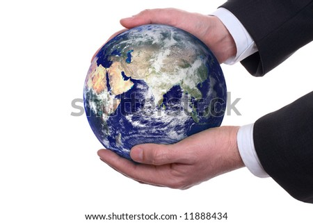 earth in a hands on white background - stock photo