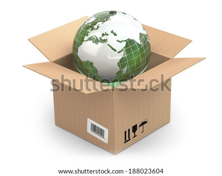 Earth in cardboard box on white isolated background. 3d - stock photo
