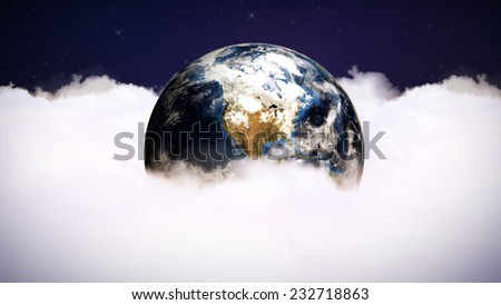 Earth in Clouds - Elements of this image furnished by NASA