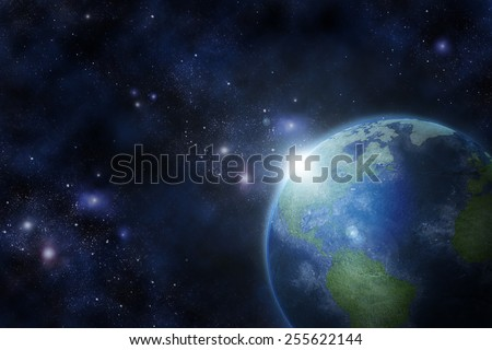 Earth in fantastic space (Elements of this image furnished by NASA)
